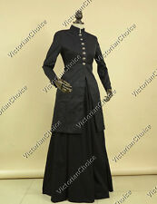 Victorian Edwardian Frock Coat Dress Theater Women Punk Costume BLACK C035