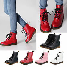 Womens Winter Combat Boots Leather Military Lace Up Motorcycle Shoes Size New