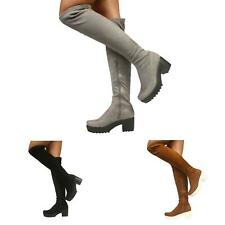 WOMENS BLOCK CHUNKY HEEL PLATFORM LADIES OVER THE KNEE STRETCH BOOTS SHOES