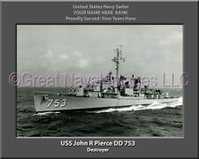USS John R Pierce DD 753 Personalized Canvas Ship Photo Print Navy Veteran Gift