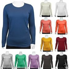 New Active Basic Casual Solid Long Sleeve Crew Neck Top T-Shirts (PLUS SIZE)