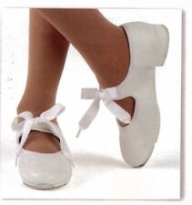 New/box Tap Shoes Girls/ ladies sizes Tapettes Mary Janes Dance Ribbon tie WHITE