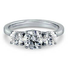 Silver 3-Stone Promise Engagement Ring Made with Swarovski Zirconia 1.92 CT