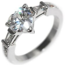 2.29CTW Heart Cut Stone Baguettes Round Engagement Wedding Ring size 6,7,8,9,10
