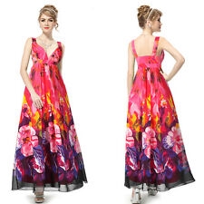 Sexy V-neck Colorful Floral Printed Maxi Chiffon Evening Party Dress 09349