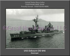 USS Ozbourn DD 846 Personalized Canvas Ship Photo 2 Print Navy Veteran Gift