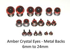 Amber Crystal Eyes with METAL BACKS - Traditional Teddy Bear Doll Animal Safety