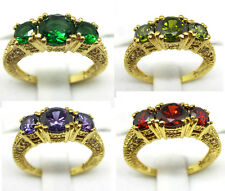 Size:7/8/9 Women's Ring 10KT Yellow Gold Filled Emerald/Amethyst/Ruby Wedding