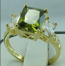 Nice Jewelry Fashion Women's Ring 10KT Yellow Gold Filled Peridot Size:7/8/9