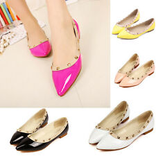 Women Ladies Pointed Toe Casual Loafer Studded Rivet Ballet Flat Comfort Shoes