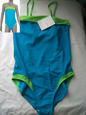 Nike Girl's Swimsuit Swimming Costume Teal & Green Size Girls L 30, XL 32 New