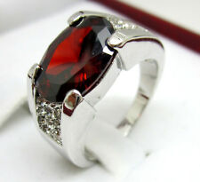 Jewelry Fashion Nice 10KT White Gold Filled Ruby Men's ring Size:10 11