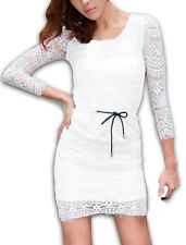 Women With Lining Drawstring Waist Pretty Slim Fit Lace Dress
