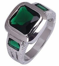 Size:10 11 Jewelry Generous 10KT White Gold Filled Men's Emerald Ring