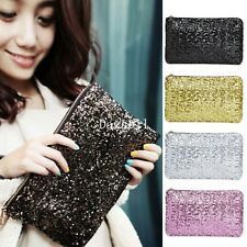Womens parkling Bling Sequin Clutch Purse Evening Party Handbag Bag Fashion New