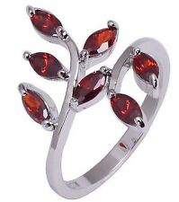 Fashion Jewelry 10KT White Gold Filled Women's Pretty Ruby Ring Size:7 8 9