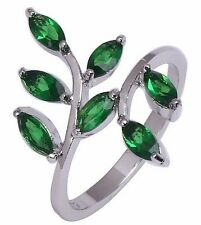 Fashion Jewelry 10KT White Gold Filled Women's Pretty Emerald Ring Size:7 8 9