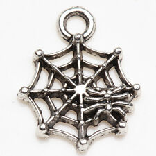 Wholesale 15/30Pcs Tibet Silver Spider Web Charms Pendants Finding DIY 17*14mm