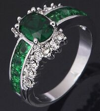 Women's Nice Jewelry Charming 10KT White Gold Filled Emerald Ring Size:7 8 9