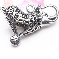 1/2Pcs Tibetan Silver Carved Elephant Hollow Out Charms Pendants Crafts 45*40mm