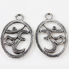 Wholesale 10/20Pcs Tibet Silver Charms Carved Oval Pendants Finding DIY 22*14mm