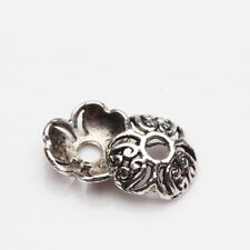 100/200Pcs Tibetan Silver Carved Flower Shaped Hollow Out Bead Caps DIY Lots 8mm