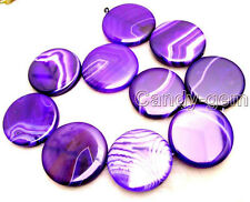 """SALE Big 40mm Blue Round coin stripe Natural agate Beads strand 14""""-los119"""