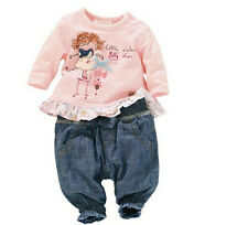 NEW Hot Baby Girls Long Sleeve T-shirt top + pants Outfit fit 3-24M