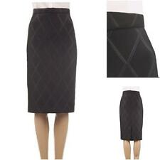 New Ex Pied De Terre Black Scuba Diamond Embossed Stretch Pencil Skirt 8-16