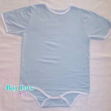 Adult Baby BABY BLUE w/white trim Bodysuit  *Big Tots by MsL*