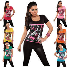 "Sexy women's T-Shirt Top Longshirt ""Glam"" Crew neck 34,36,38,40,42,44 (CK-GLM6)"