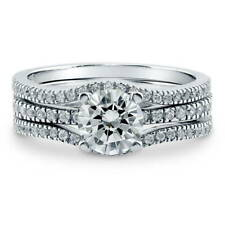 BERRICLE Sterling Silver Round CZ Solitaire Engagement Ring Set 1.41 Carat