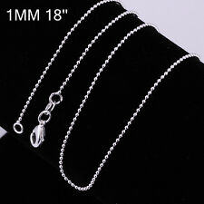50Pcs 925Sterling Silver Ball Beads Chain Men Women Necklace 1-3MM CY002-6