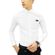Men Button Down Long Sleeves Point Collar Chest Pocket Slim Fit Shirts
