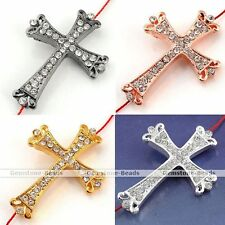 Curved Side Ways Crystal Crown Cross Bracelet Connector Finding Charm Bead DIY