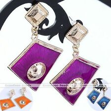 Pair Korean Enamel Rhombus Bead Dangle Earring Golden Ear Stud Eardrop Punk Gift