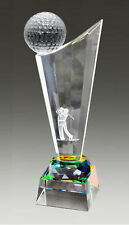 Personalised Holographic Tinted Crystal Optic Glass Golf Trophy Award, Engraved