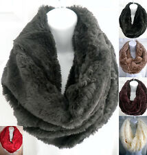 women men winter warm faux fur one circle loop cowl thick infinity scarf snood