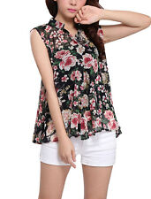 Lady Stand Collar Sleeveless Button Down Floral Prints Blouse