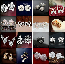 Hot Sale Exquisite Crystal Rhinestone Earring Infinity Charm Ear Studs 1 Pair