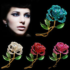 Rose Flower Crystal Rhinestone Floral Brooch Pins Gold Women Wedding Hot Jewelry