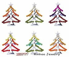 Hot Prom Rhinestone Crystal White Gold Plating Christmas Tree Brooch Pin Jewelry