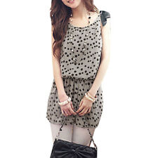 Dots Pattern Scoop Neck Sleeveless Tunic Shirt for Women
