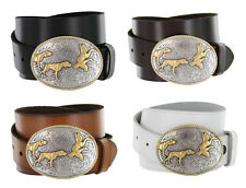 "Mens Outdoorsman Hunting Dogs & Birds Full Grain Leather Belt 1-1/2"" Sizes 32-44"