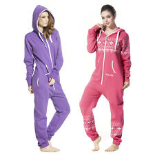 Womens One Piece Jumpsuit Hoodie Zip All In One Unisex Playsuit For Adult Romper