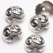 15/30Pcs Silver Plated Shell Charm Necklace Bangle Crafts Bead Caps 13*11*7mm