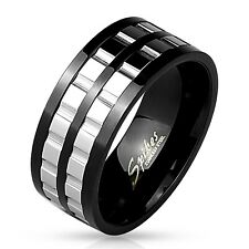 Black Stainless Steel Men's Double Gear Spinning Band Ring Size 9-13 9mm