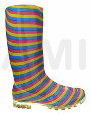 LADIES GIRLS FUNKY MULTI-COLOURED STRIPES WELLIE BOOTS SIZES: 3, 4, 5, 6, 6.5, 7