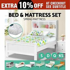 Wooden Bed Frame & Pocket Spring Mattress King Single Queen Double Trundle