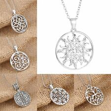Chic Women Silver Sun Heart Round White Gold Plated Pendant Necklace Chain Gifts